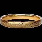 Engraved Floral Gold Filled Bangle Bracelet Antique