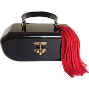 Black Lucite Lunchbox Purse With Red Suede Tassel 1940's Pristine Refreshed!