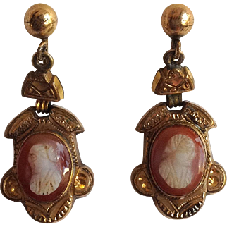 Dangling Cameo Earrings Goldplated Victorian