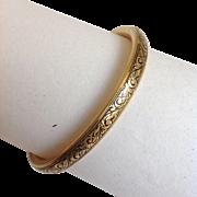 Child's Bangle Bracelet Enameled 12 Karat Yellow Gold Filled