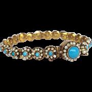 Turquoise Pearl Bracelet 14 Karat Gold