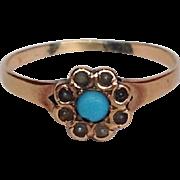 Turquoise Seed Pearl Flower Ring 12 Karat Gold