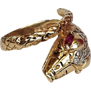 Snake Ring Rubies Diamonds 14 Karat Gold 19th c.