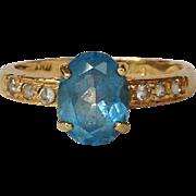 Blue Topaz Diamond Ring 14 Karat Gold Italy