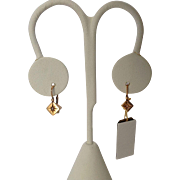 Victorian Square Drops  Seed Pearl Small 14 Carat