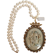 Antique French Religious Meerschaum Pendant Necklace