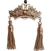 Victorian Double Tassel Pin or Pendant 14 and 10 Karat