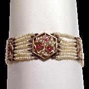 Antique  Gold Ruby and Pearl Seven Strand Bracelet 18 Karat