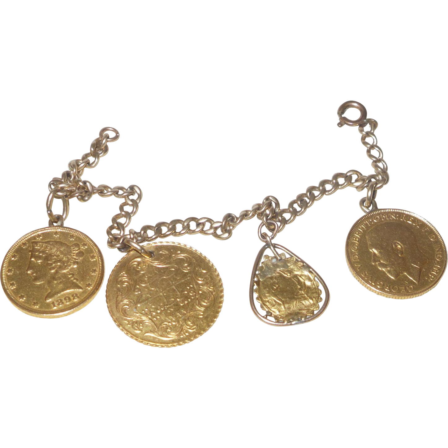 Antique Gold Charm Bracelet: Vintage 14K Yellow Gold Charm Bracelet With Gold Charms