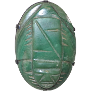 Antique Green Onyx Mexican Brooch