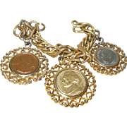 Vintage Signed Gold Plated Coin Charm Bracelet by WLP