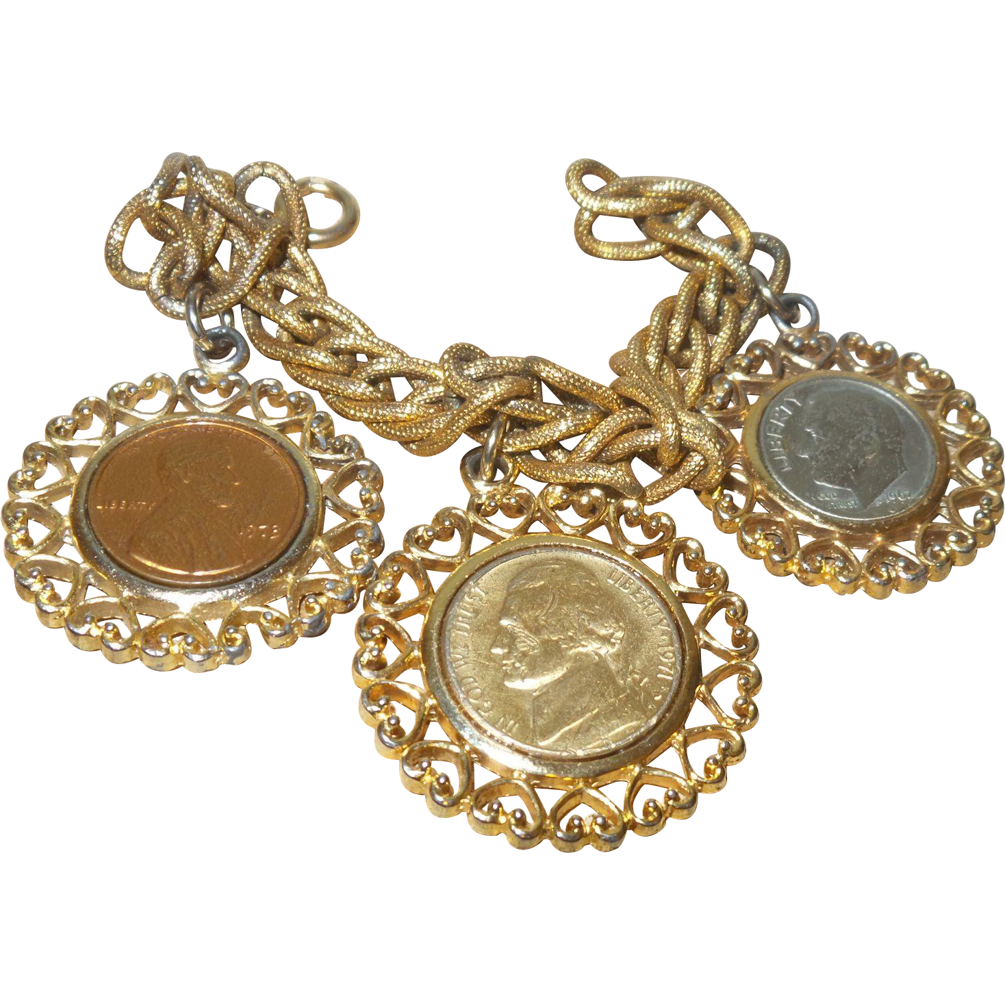 Vintage Signed Gold Plated Coin Charm Bracelet by WLP from