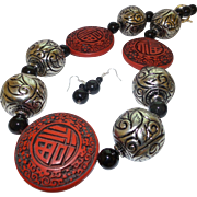 Hand Strung Carved Cinnabar, Bali Silver, With Black Onyx Necklace and Earrings