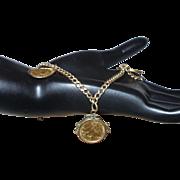 14 Karat Yellow Gold Coin Charm Bracelet