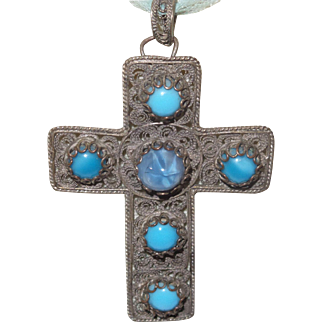 Vintage Mixed Metal Opaline Stones Cross