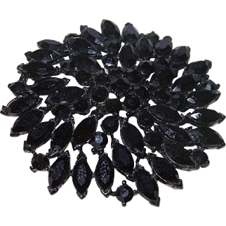 Vintage Mourning Brooch With Black Jet And Japanned Metal