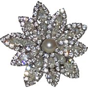 Signed Hattie Carnegie Rhinestone Brooch With A Faux Pearl Center