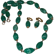 Vintage Carved Peking Glass Necklace and Earrings