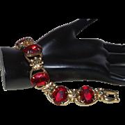 Juliana Ruby Red Oval Cut Glass Bracelet