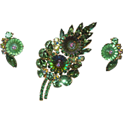 Vintage Juliana Brooch and Earrings in Green Margarita Stones