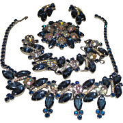 Vintage Juliana Parure With Wide Sapphire Navettes