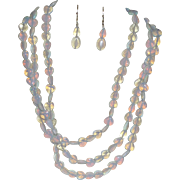 Hand Strung Three Strand Opaline Necklace with Earrings