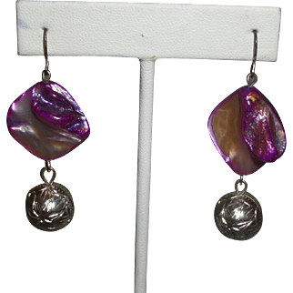 Artisan Created Dyed Purple Abalone Shell with Bali Silver Earrings