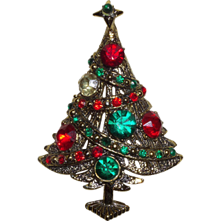 Signed Hollycraft Christmas Tree Brooch in Multi Colored Rhinestones