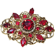 Vintage Ruby Red Rhinestones and Faux Gold Brooch