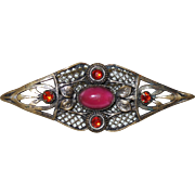 Victorian Brooch with Orange Czech Stones