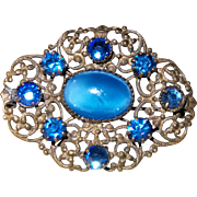 Victorian Brooch with Blue Czech Stones