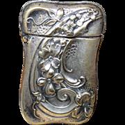 Art Nouveau Silver Plated Match Safe