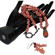Artisan Created Coral Necklace with Coral Pendant