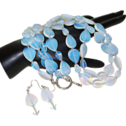 Artisan Created Double Strand Opaline Necklace with earrings