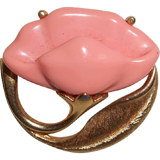 Signed Avon Coral Colored Molded Plastic Brooch