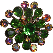 Vintage Brooch In Peridot Green and Clear rhinestones