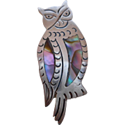 Marked Mexico Sterling Silver Inlaid Abalone Owl Brooch
