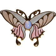 Vintage Enamel Butterfly with a Faux Opal Center Stone Brooch