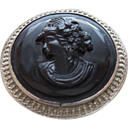 Signed Made In Czechoslovakia Black Mourning Brooch