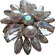 Signed Judy Lee Faux Pearl and Rhinestone Brooch