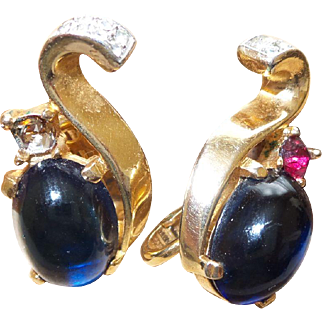Trifari Alfred Philippe Blue Cabochon Earrings