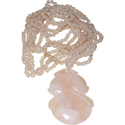 Vintage Pink Jadeite Necklace With Carved Flower Pendant