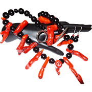 Artisan Created Red Bamboo Coral Necklace with Black Onyx Beads and Matching earrings