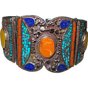 Vintage Nepalese Tibetan Turquoise Coral Lapis and Amber Cuff Bracelet in Silver