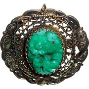 Vintage Peking Glass Brooch/Pendant In Gold Tone Metal