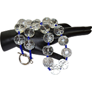 Hand Strung Faceted Round Quartz Crystal with Enhanced Blue Sapphires