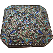 Vintage Cloisonne Compact in Silver Tone Metal