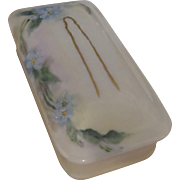 Edwardian Porcelain Pin Box with Gold Pin