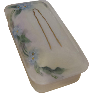 Edwardian Porcelain Pin Box with Gold Pin