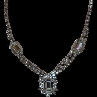 Vintage Signed Weiss White Rhinestone Necklace